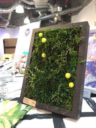 Moss Art Wall ~ 3D Real Preserved Moss Yellow Flower