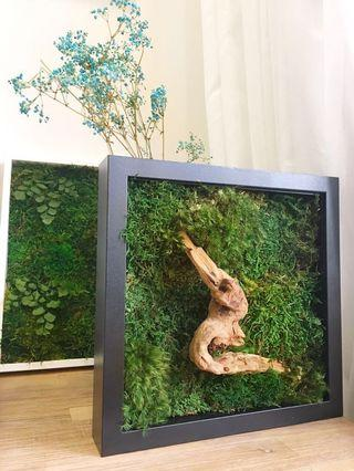 Moss Art Decor~Green Wall Real Preserved Moss Lone Wood