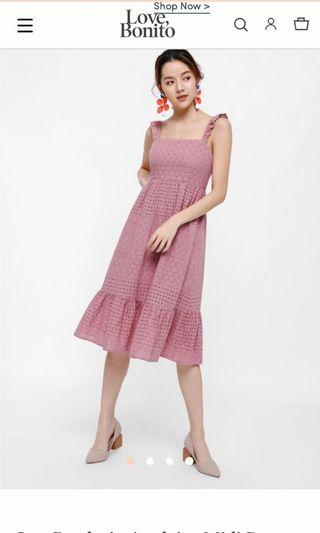 Love Bonito Issa Broderie Anglaise Midi Dress LB