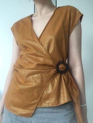 Zara mustard sheen wrap top with tortoise buckle