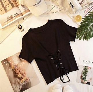 🚚 Black lace up halter top