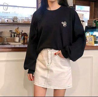 ulzzang constrast stitch white denim skirt