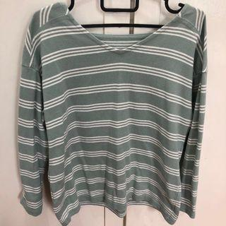 uniqlo turquoise striped long sleeve top