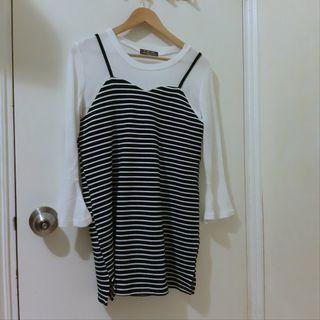 韓國條紋假兩件裙  stripe bell sleeves dress