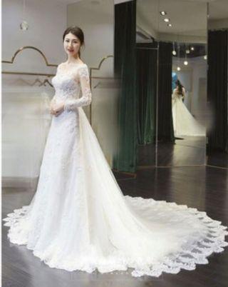 歐美 宫廷拖尾 蕾絲婚紗 可以2穿拖尾可以拆