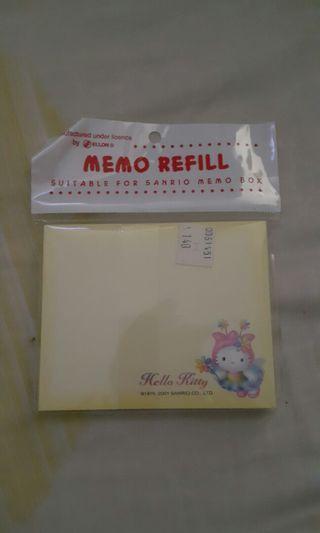 2001年出產Hello kitty memo 紙