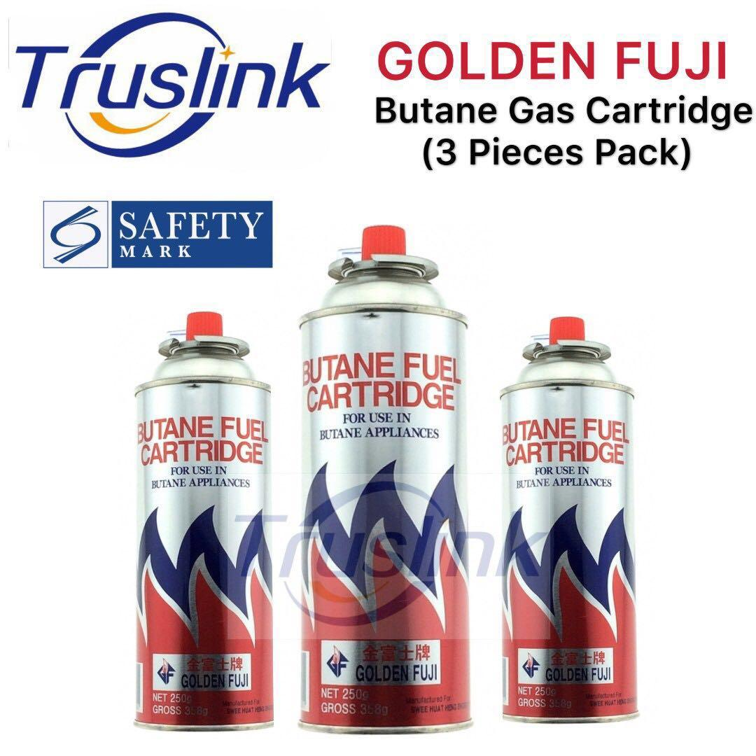 [3 pieces for $11.9 FREE Delivery] Golden Fuji Gas Cartridge 3 IN 1 Pack Singapore Product Safety Mark Approved Butane Fuel Cartridge Butane Gas 3 X 250g/250ml