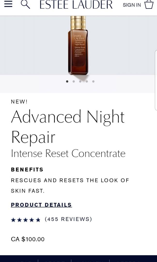 Esteem Lauder advanced night repair. Intense reset concentrate