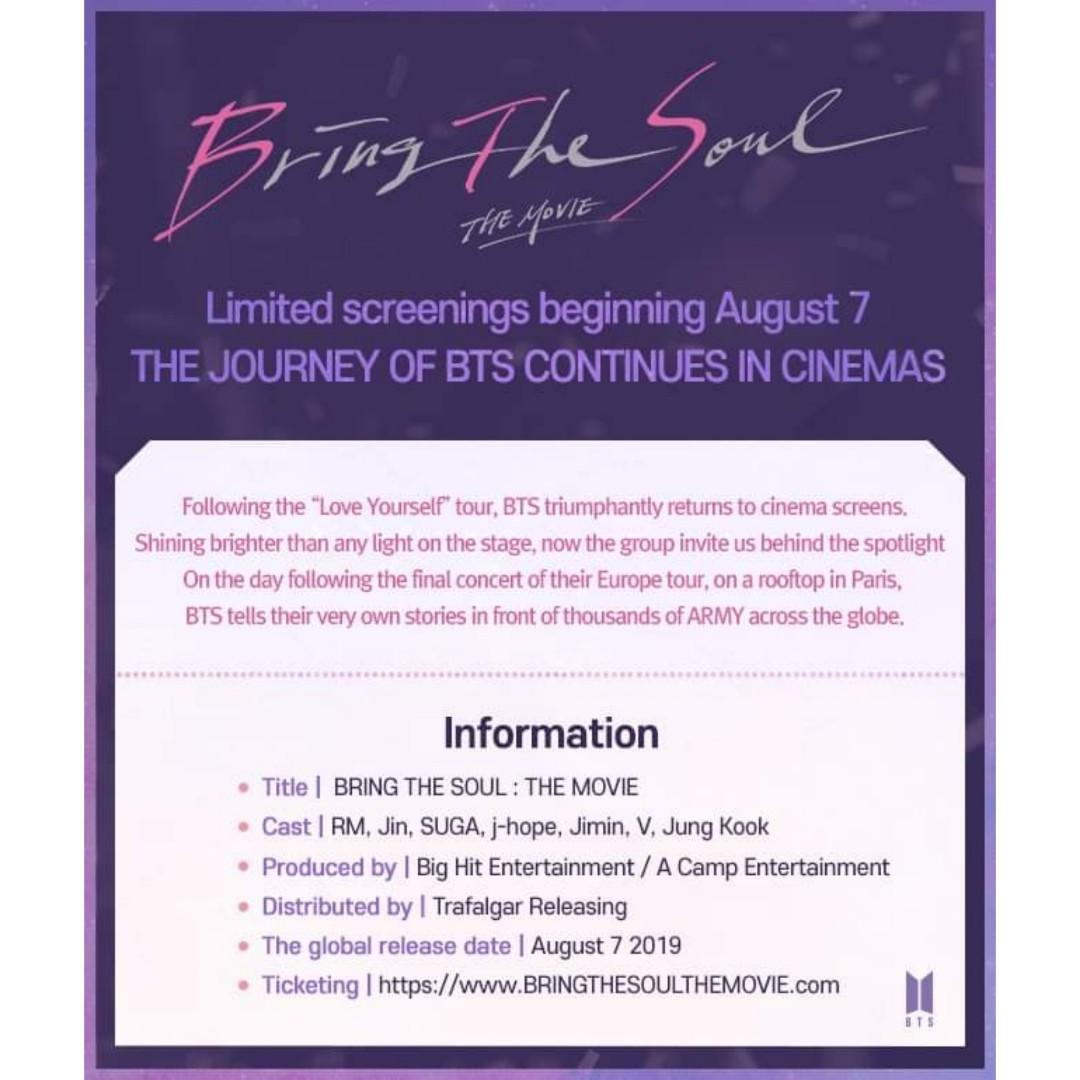 [GSC] BTS Bring The Soul The Movie Online Ticketing Service (3rd July, 2019) -ENDED-