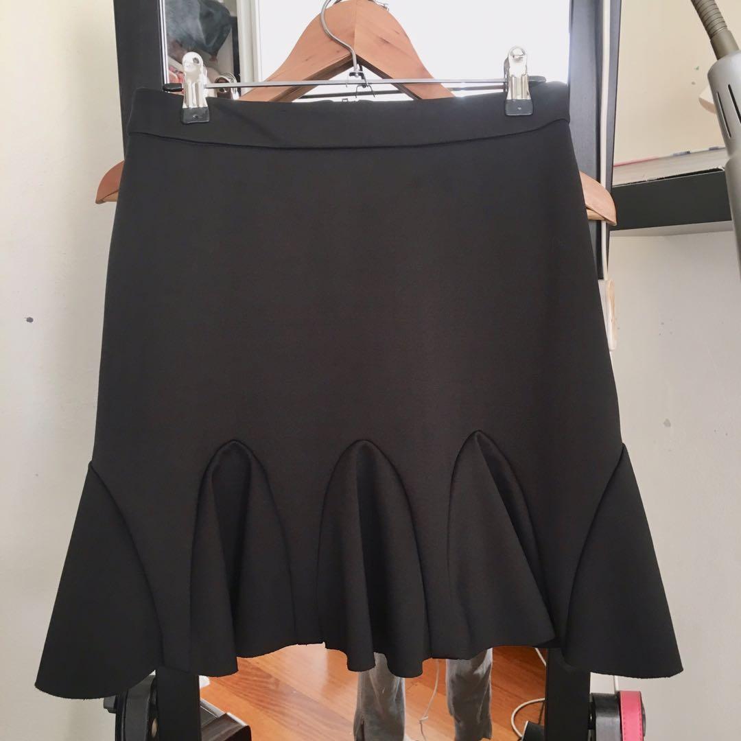 Kookai Black Scuba Skirt with Frill Hem