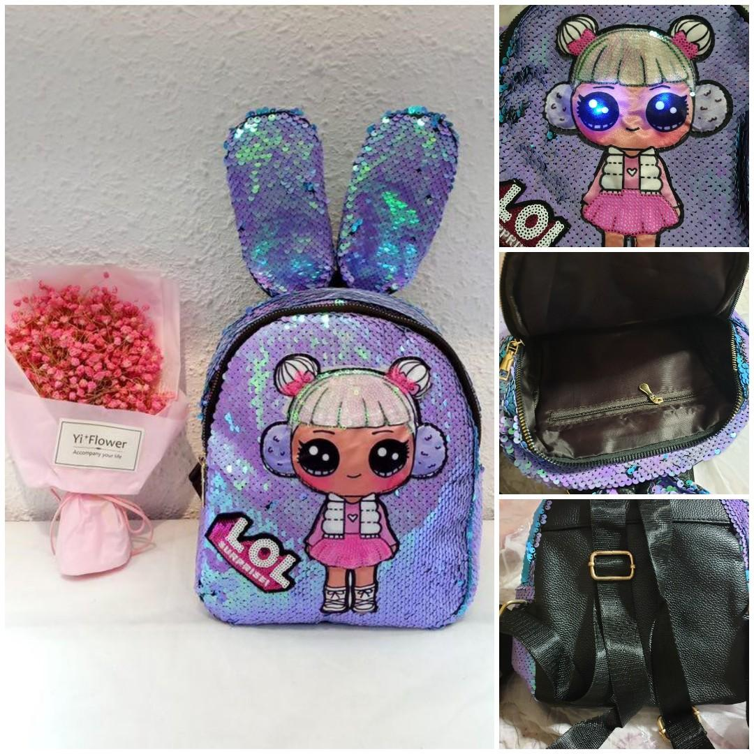 LOL Bunny Ears Sequins Backpack with Light