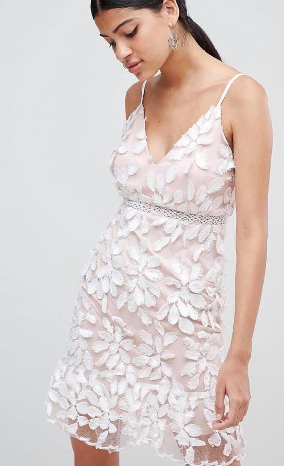 Love Triangle  3D Appliqué Dress with Peplum Hem White/Nude (brand new with Tags )