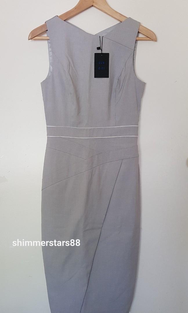 New Cue Melange Dobby Asymmetric Pencil Dress, size 6, RRP$240, Free Postage