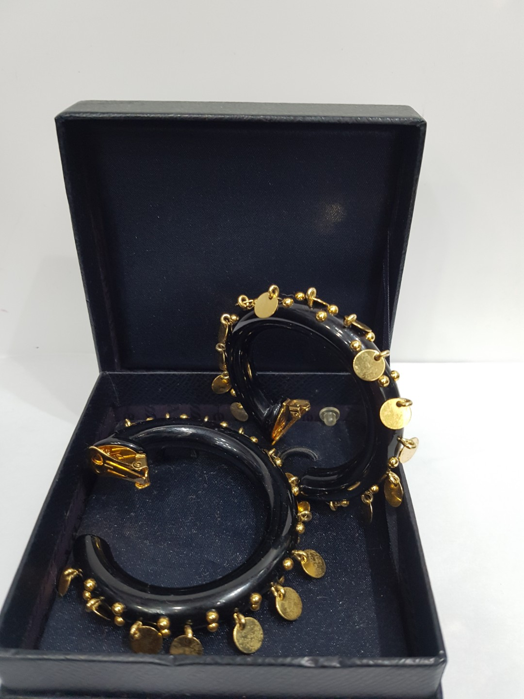 d65f2d5c1aa0e New Prada Women's Hoop Earring With Box (Black And Gold Details)