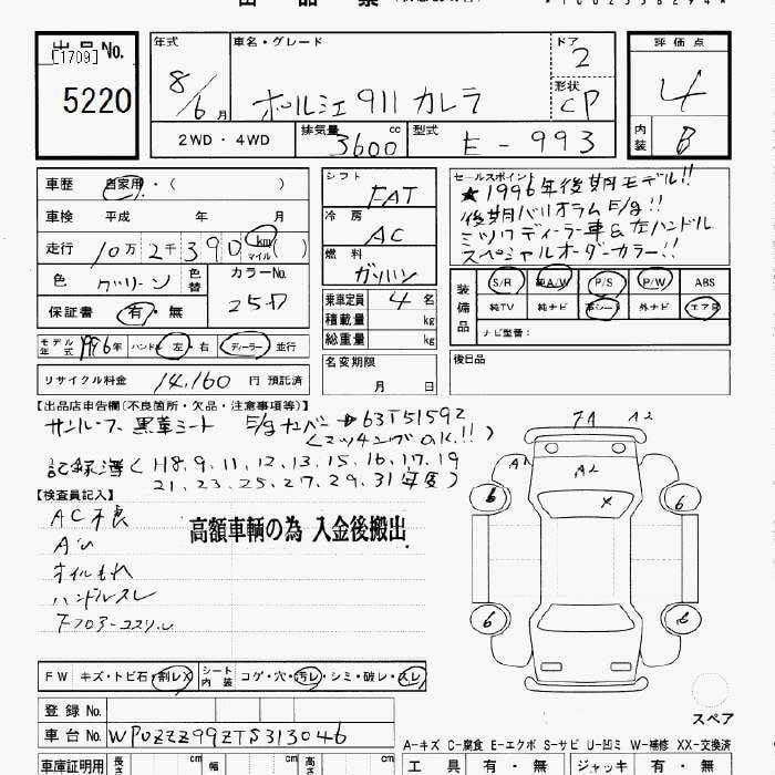 PORSCHE 911 1996 價錢面議(另有bid車、水貨車、中港牌、租車服務、大量現貨  、古董車等)