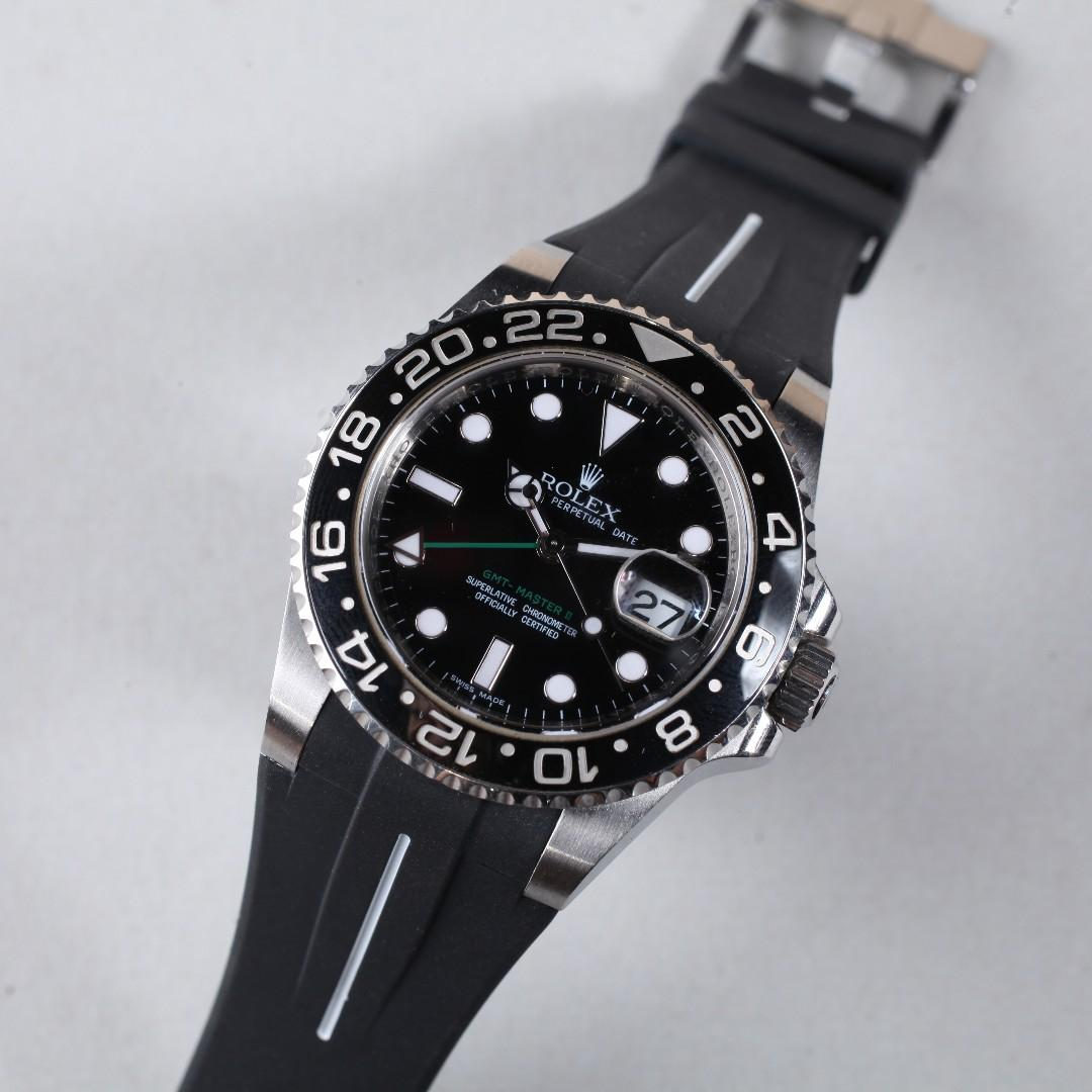 Rolex 針扣款- 20MM - 勞力士代用膠錶帶 - Flared Tang Series Vulcanized Silicon Rubber Strap - 黑帶白線 VulChromatic White (包郵)