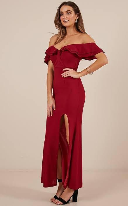 SHOWPO Centre Stage Maxi Dress in Wine, Size 6 XS, Formal Gown Evening