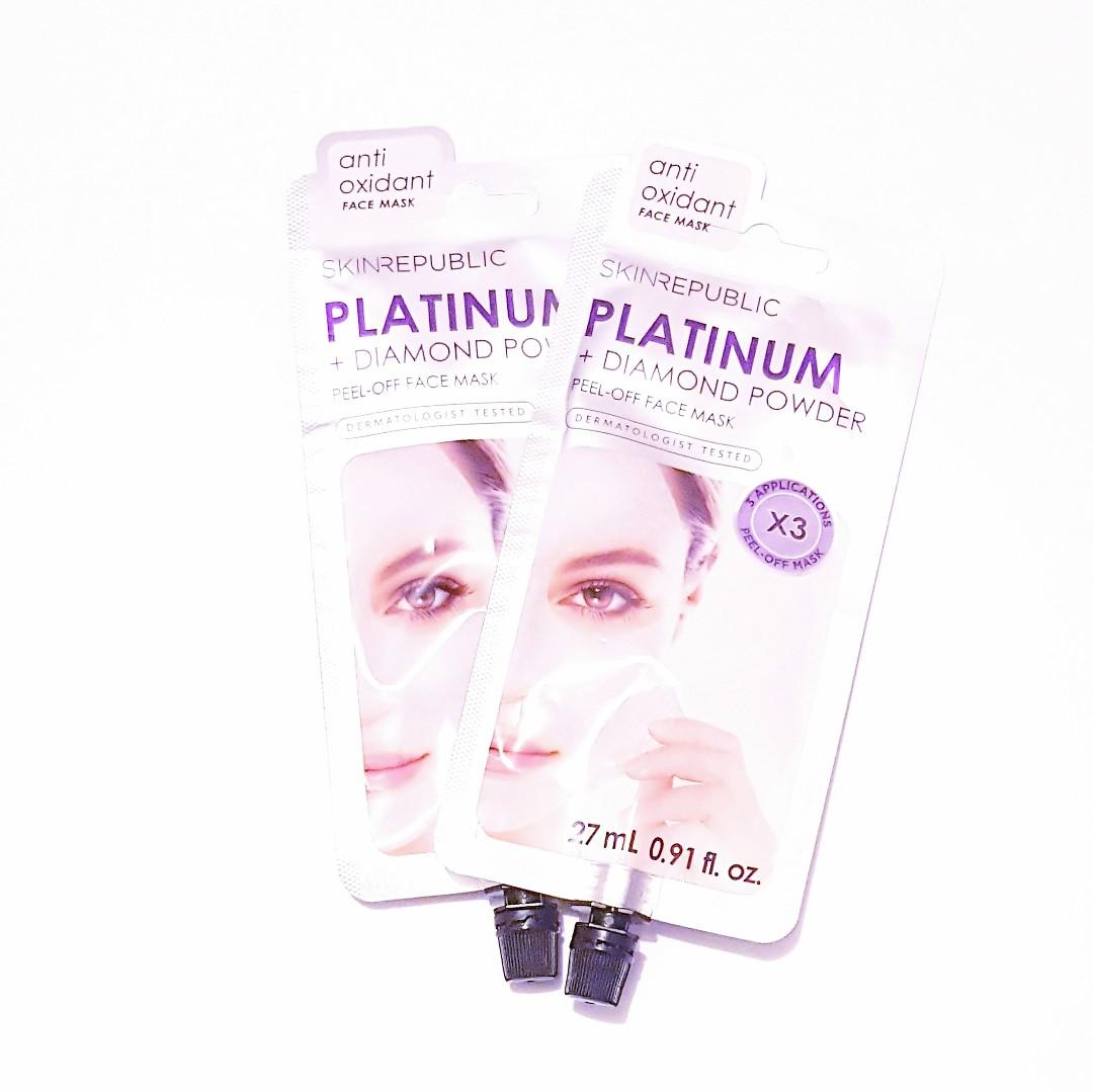 Skin Republic Anti Oxidant Platinum + Diamond Powder Dermatologist Tested Full Face Peel Off Mask