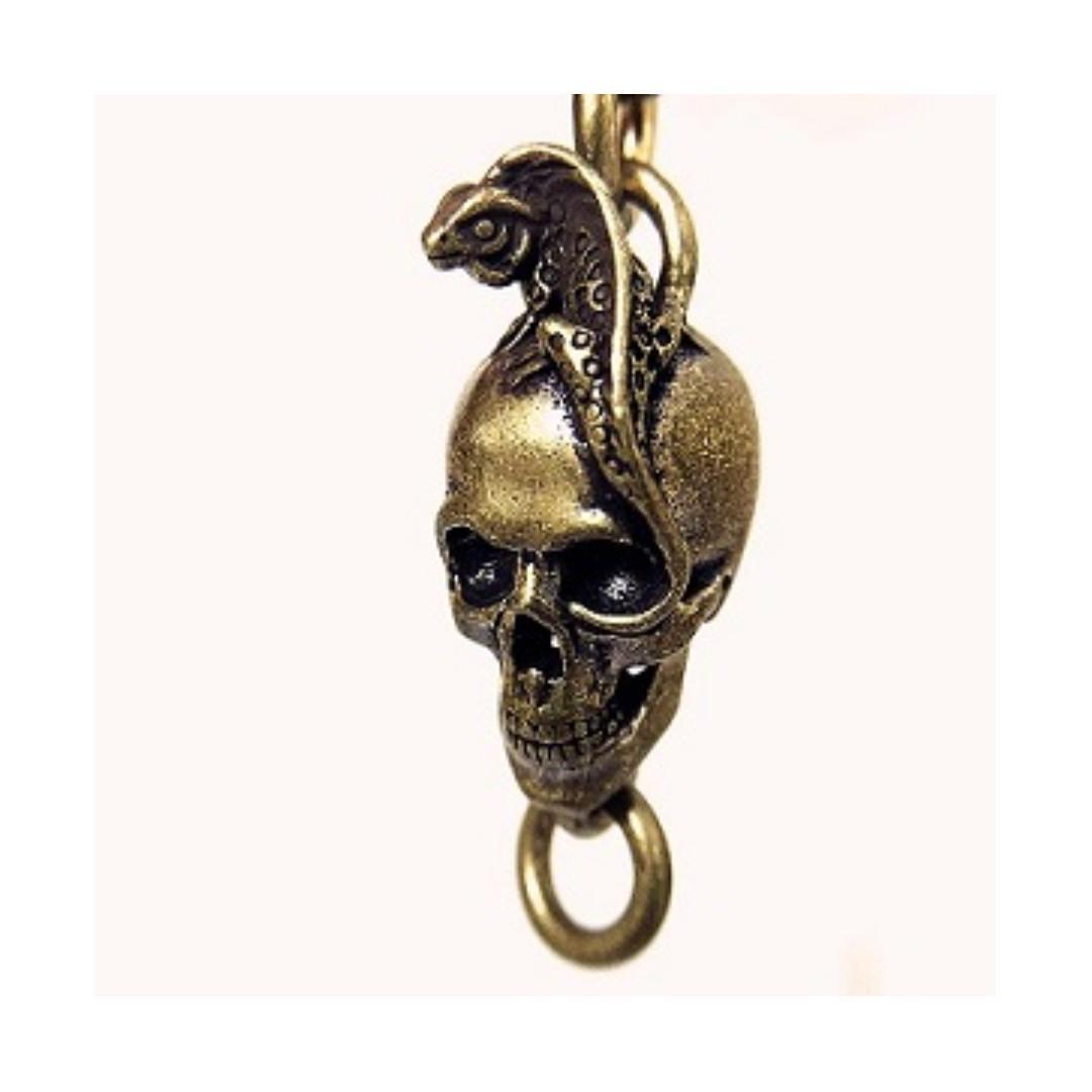 Solid Brass Punk Lizard Skull