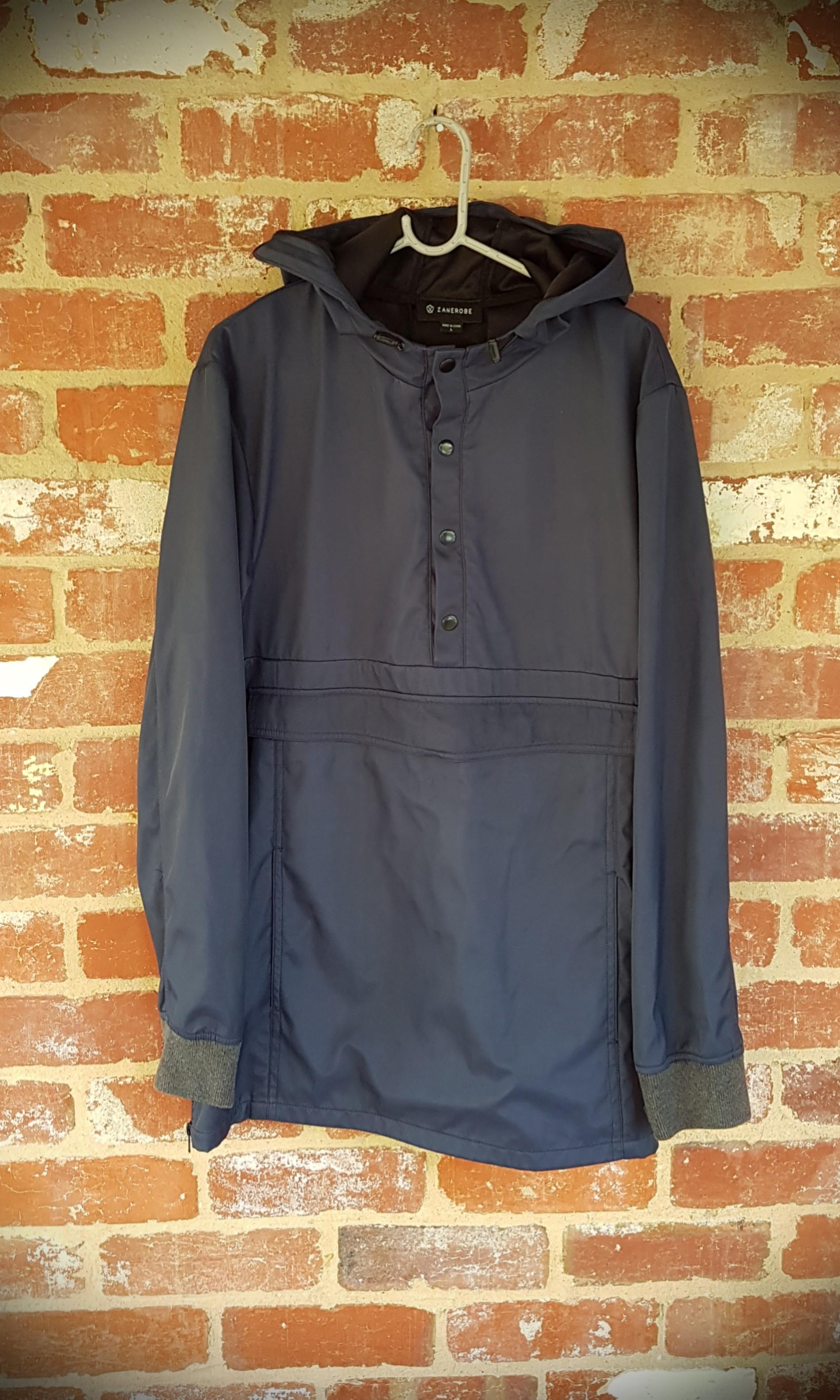 Zanerobe Blue Windbreaker Hooded Jacket/Top Rainproof