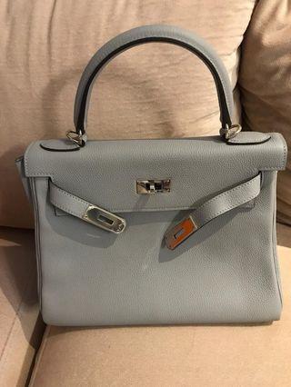 95% new Hermès Kelly 28 blue glacier togo leather PHW stamp X