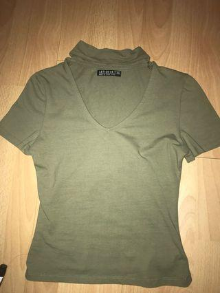 olive green choker top