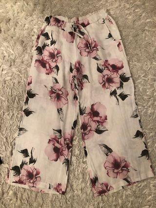 Floral linen pants size S