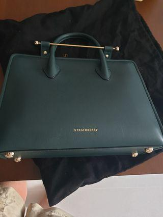 Strathberry forest green work bag with cross body sling