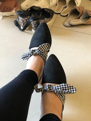 Zara Black Ribbon Shoes