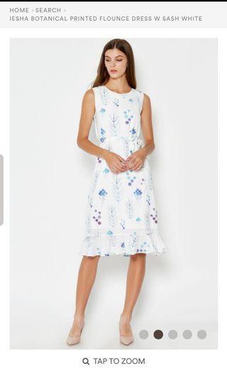 Love and bravery iesha botanical flounce dress white