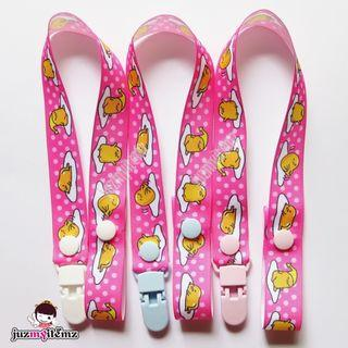 Multipurpose Toy clip / Pacifier clip / Dummy clip / Teether Holder Clip - Gudetama Pink