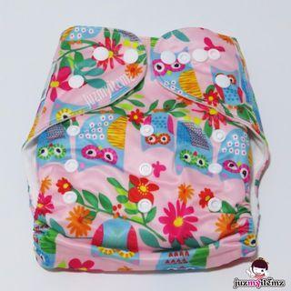 Printed Pocket Cloth diaper set - CD01 Pink Owl