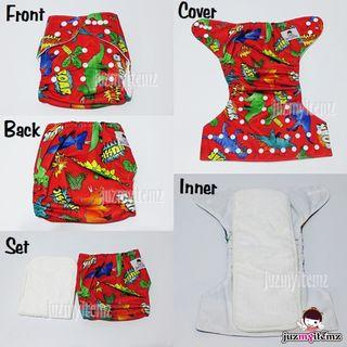 Printed Pocket Cloth diaper set - CD04 Red Dinosaur