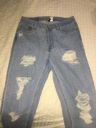 Bum Rip Distressed High Waist Boyfriend Jeans