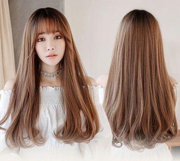 Wig brown long with bang