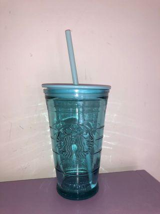 Starbucks 吸管 玻璃水杯  Tiffany blue 473ml