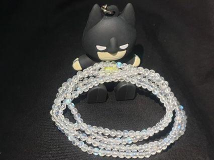 🚚 透料藍光月光石4圈手珠