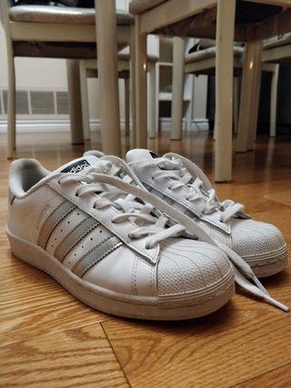 White/Silver Adidas Superstars