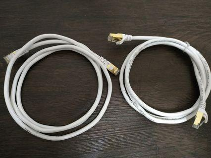 New 2x 1.5m Cat 7 Data Network Cable (Thick Shielded)