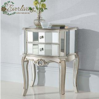 Abigail French style Mirrored Bedside cabinet