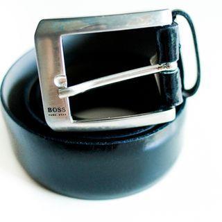 Boss black leather belt