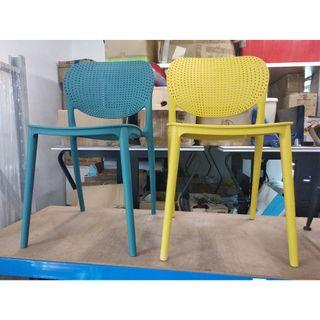 BRAND NEW green and yellow plastic chairs