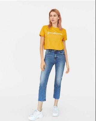 Stradivarius Cropped T-shirt Mustard