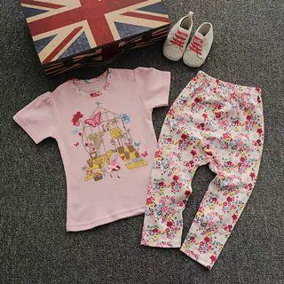 [Free Shipping] New! Premium Branded JUNIORS Baby Kids Girl Short Sleeves Long Pants Set (18~24M)