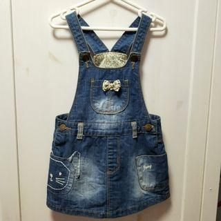 bn dress denim overalls foral detailing [C]