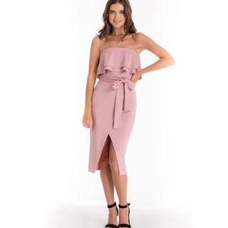 BLUSH PINK FRILL MIDI STRAPLESS DRESS SIZES 6-14