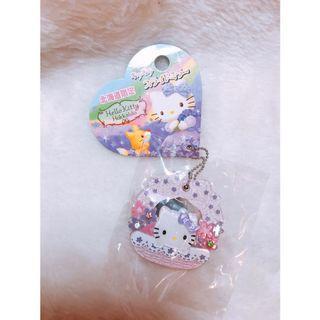 🚚 現貨✨日本北海道限定🇯🇵Hello kitty 小鏡子立體帶鑽花蝴蝶結吊飾 紫粉 送禮
