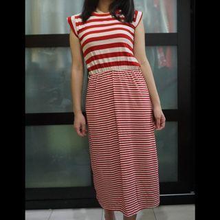 Red & White Stripes Midi Cotton Dress