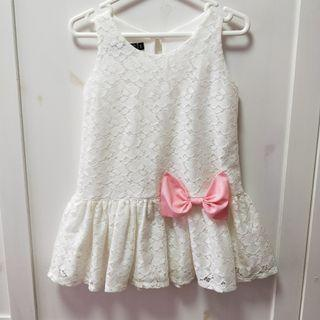 🚚 bn white lace pink bow formal dress [C]