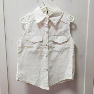 bn white sleeveless button up formal top [C]